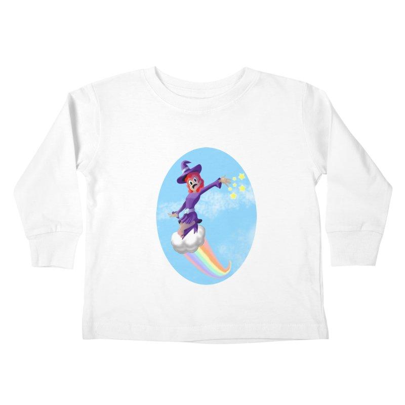 WITCH GIRL ON A CLOUD Kids Toddler Longsleeve T-Shirt by droidmonkey's Artist Shop