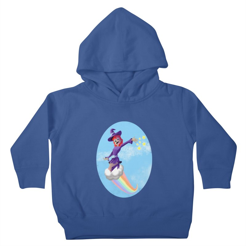 WITCH GIRL ON A CLOUD Kids Toddler Pullover Hoody by droidmonkey's Artist Shop