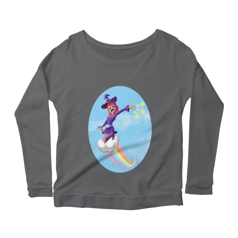 WITCH GIRL ON A CLOUD Women's Scoop Neck Longsleeve T-Shirt by droidmonkey's Artist Shop