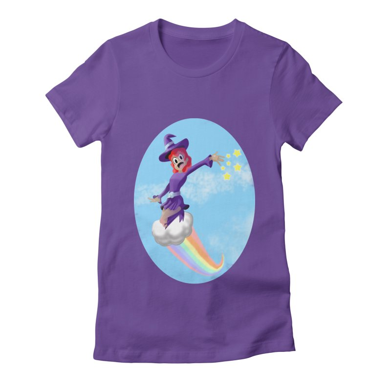 WITCH GIRL ON A CLOUD Women's Fitted T-Shirt by droidmonkey's Artist Shop