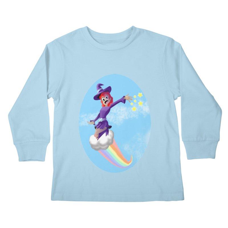 WITCH GIRL ON A CLOUD Kids Longsleeve T-Shirt by droidmonkey's Artist Shop