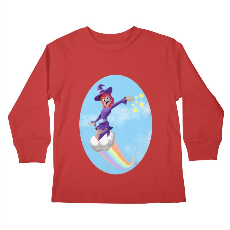 WITCH GIRL ON A CLOUD Kids Longsleeve T-Shirt by droidmonkey's Artist Shop