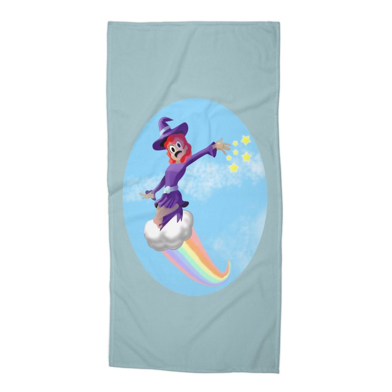 WITCH GIRL ON A CLOUD Accessories Beach Towel by droidmonkey's Artist Shop