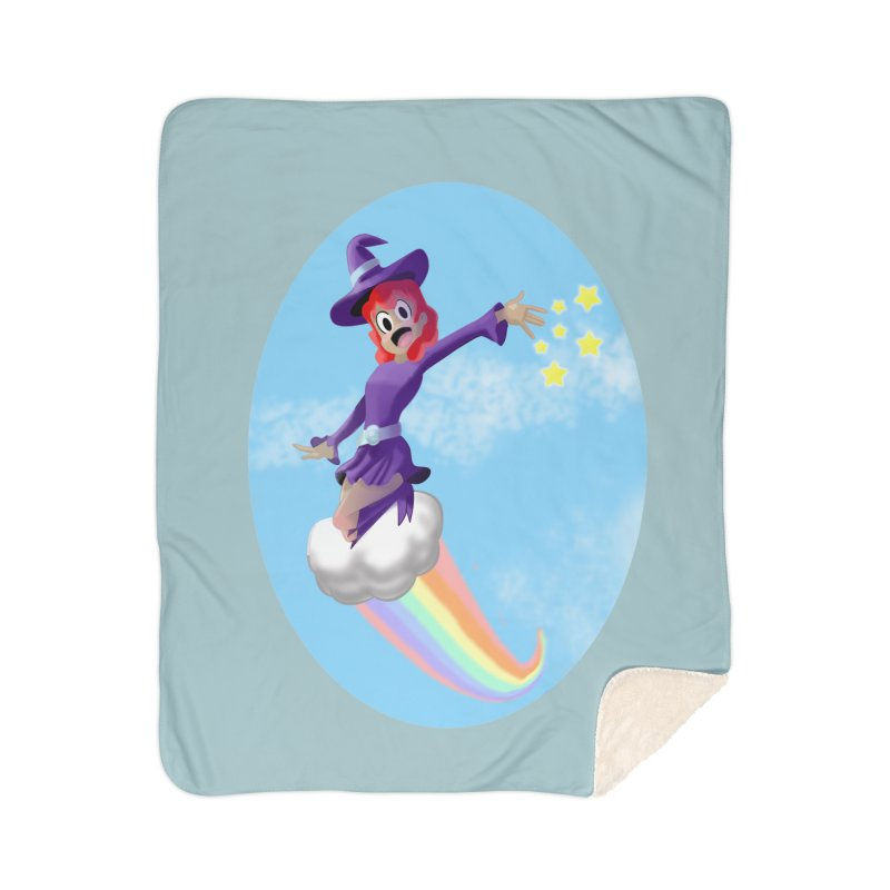 WITCH GIRL ON A CLOUD Home Sherpa Blanket Blanket by droidmonkey's Artist Shop