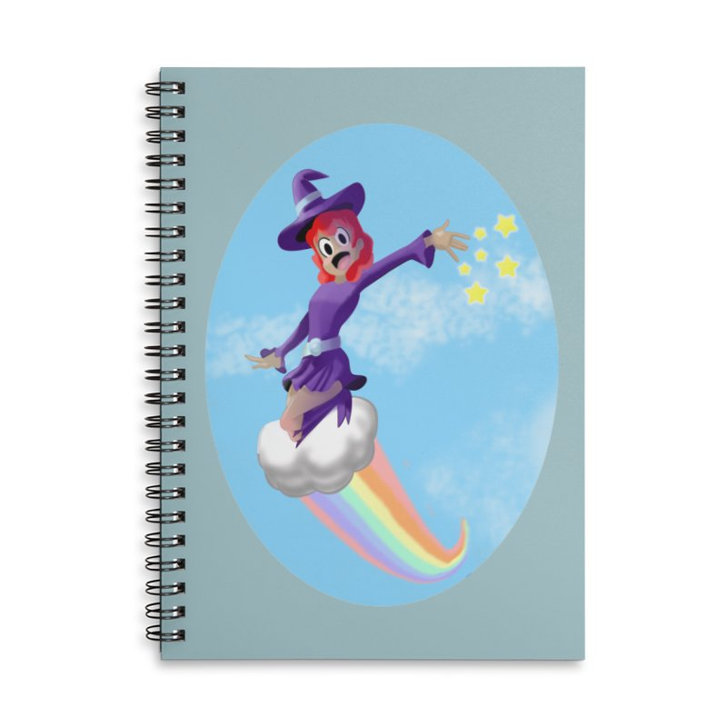 WITCH GIRL ON A CLOUD Accessories Lined Spiral Notebook by droidmonkey's Artist Shop