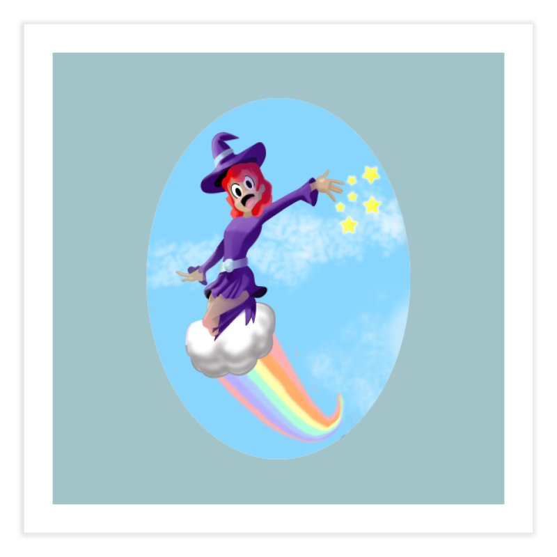 WITCH GIRL ON A CLOUD Home Fine Art Print by droidmonkey's Artist Shop