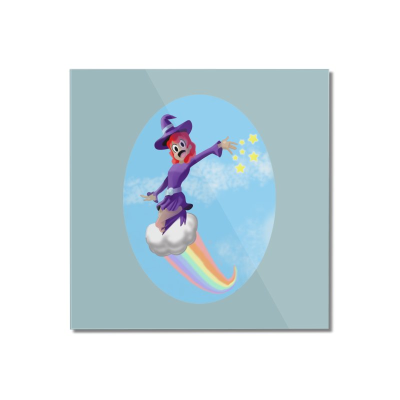 WITCH GIRL ON A CLOUD Home Mounted Acrylic Print by droidmonkey's Artist Shop