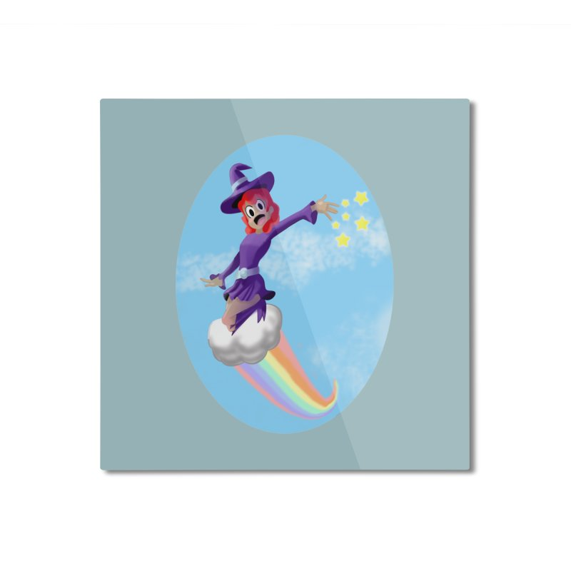 WITCH GIRL ON A CLOUD Home Mounted Aluminum Print by droidmonkey's Artist Shop