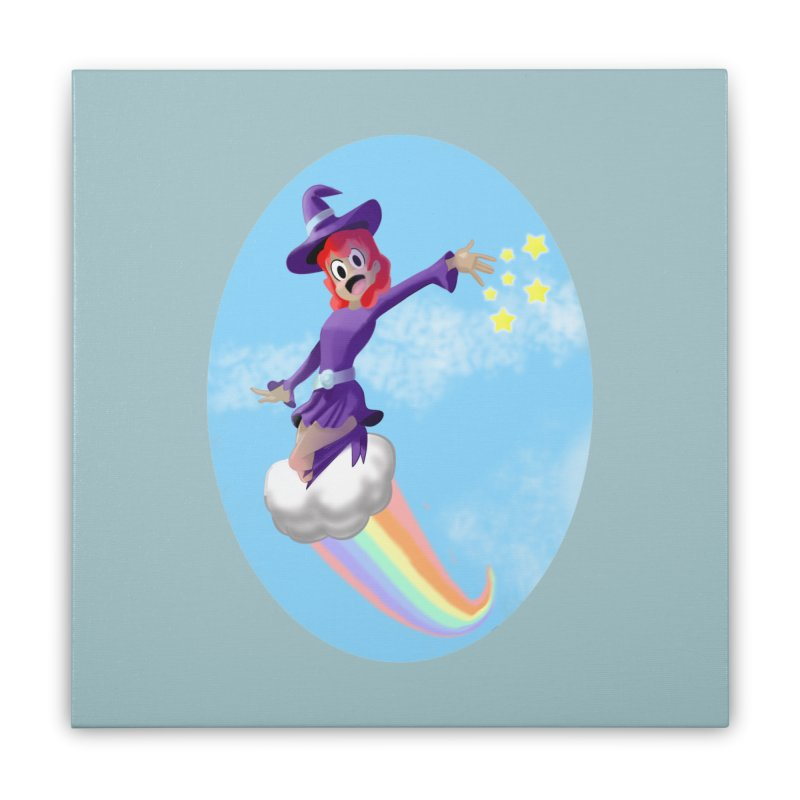 WITCH GIRL ON A CLOUD Home Stretched Canvas by droidmonkey's Artist Shop
