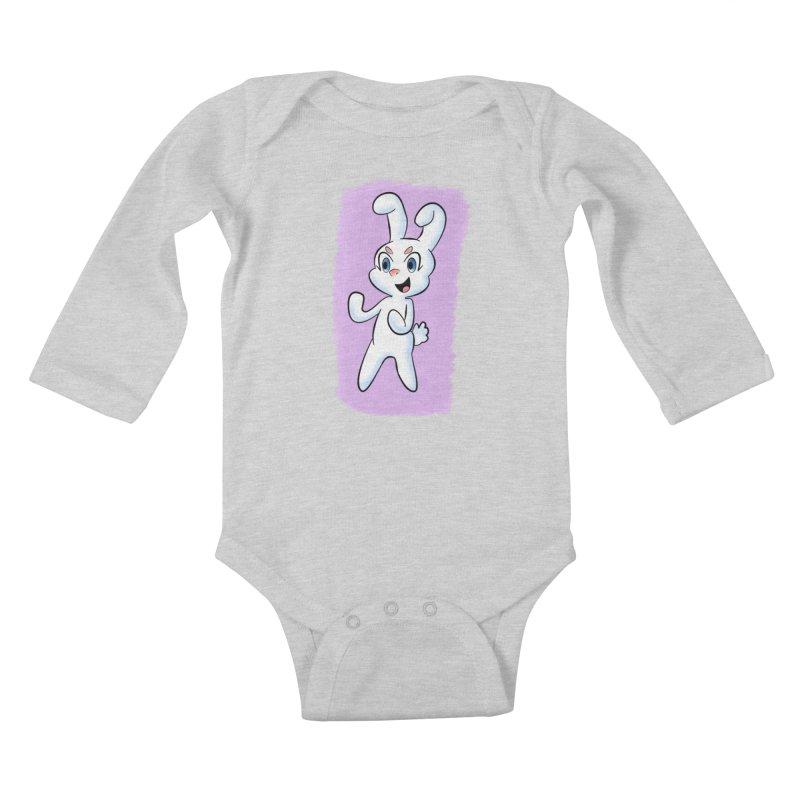 CUTE RABBIT Kids Baby Longsleeve Bodysuit by droidmonkey's Artist Shop