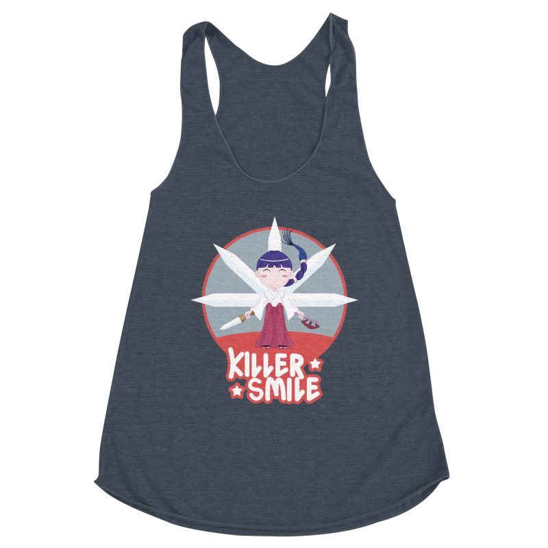 KILLER SMILE Women's Racerback Triblend Tank by droidmonkey's Artist Shop