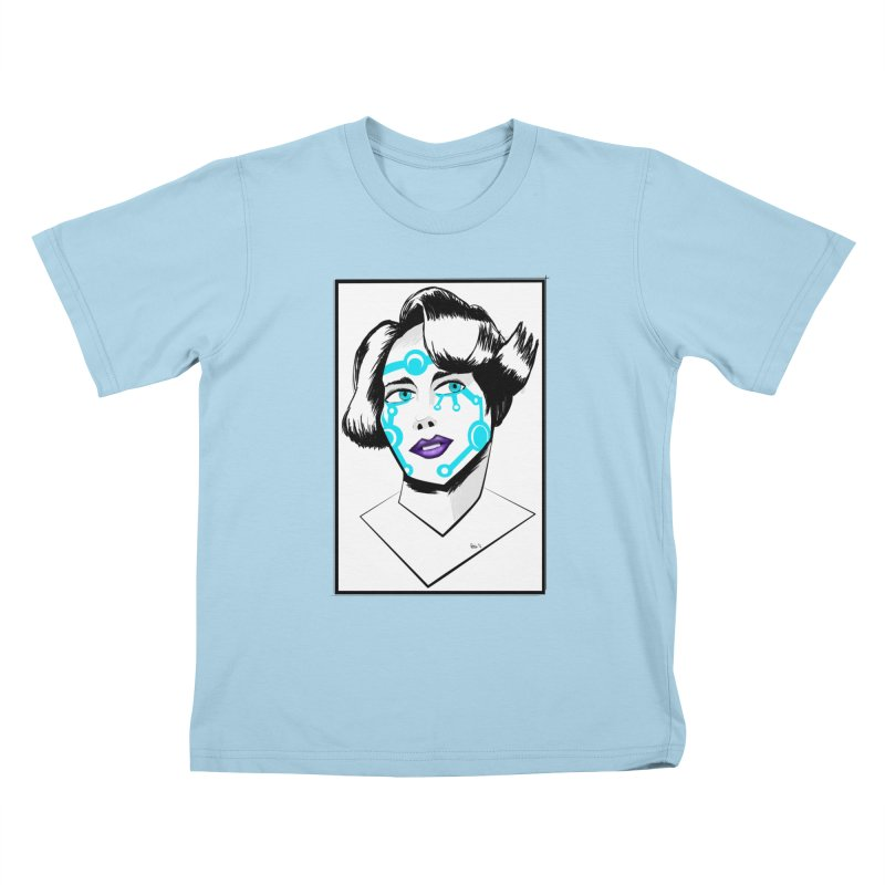 CYBER GIRL Kids T-Shirt by droidmonkey's Artist Shop