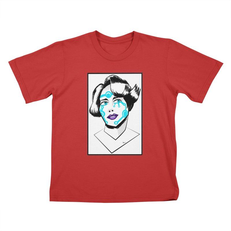 CYBER GIRL Kids T-Shirt by droidmonkey's Artist Shop