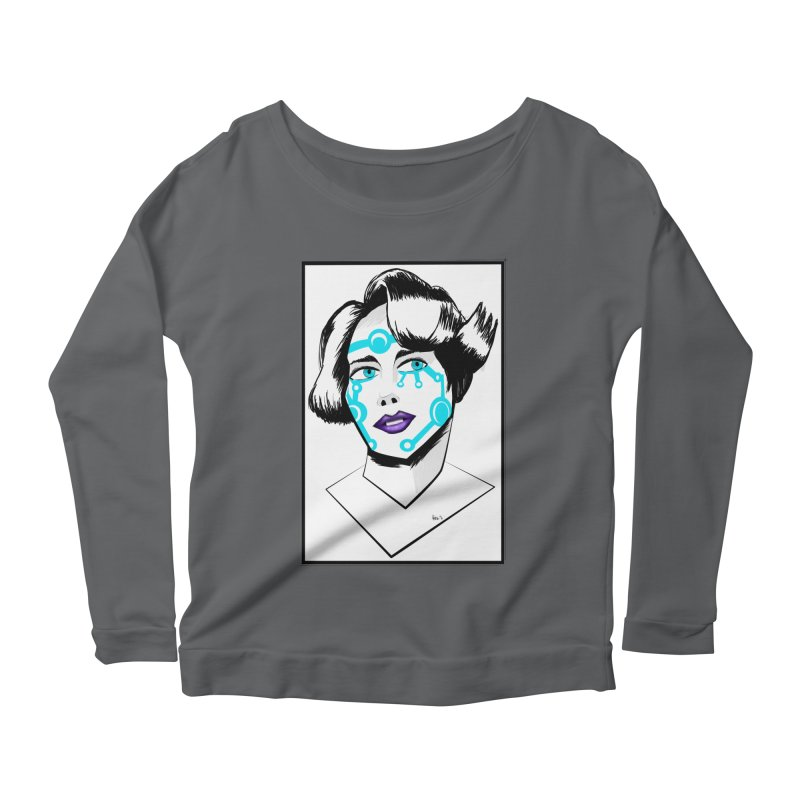 CYBER GIRL Women's Scoop Neck Longsleeve T-Shirt by droidmonkey's Artist Shop