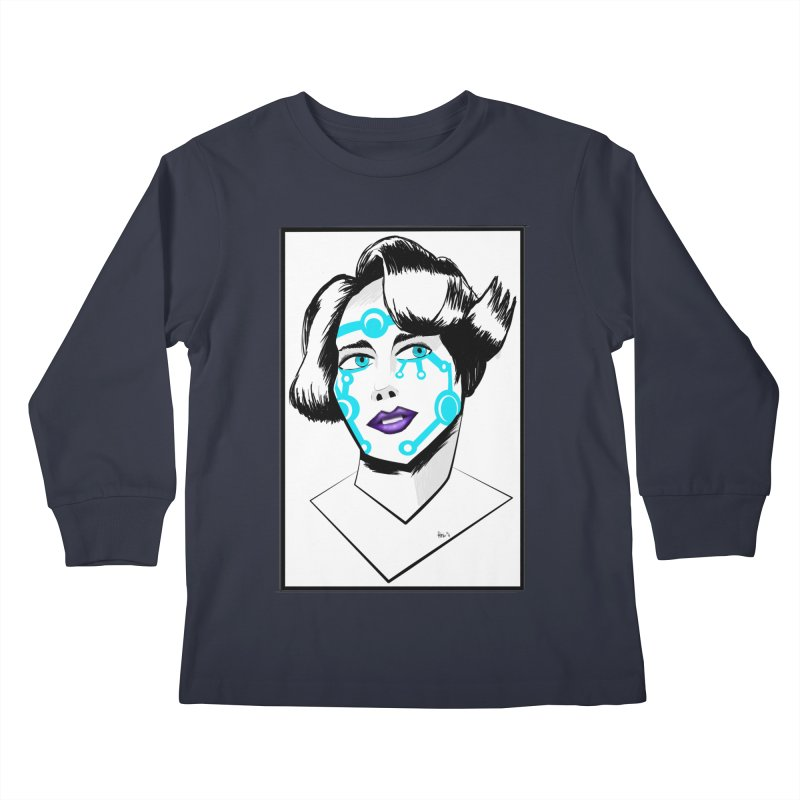 CYBER GIRL Kids Longsleeve T-Shirt by droidmonkey's Artist Shop