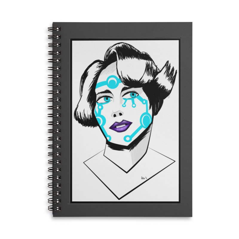 CYBER GIRL Accessories Lined Spiral Notebook by droidmonkey's Artist Shop