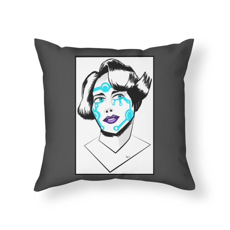 CYBER GIRL Home Throw Pillow by droidmonkey's Artist Shop