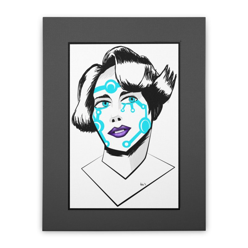 CYBER GIRL Home Stretched Canvas by droidmonkey's Artist Shop