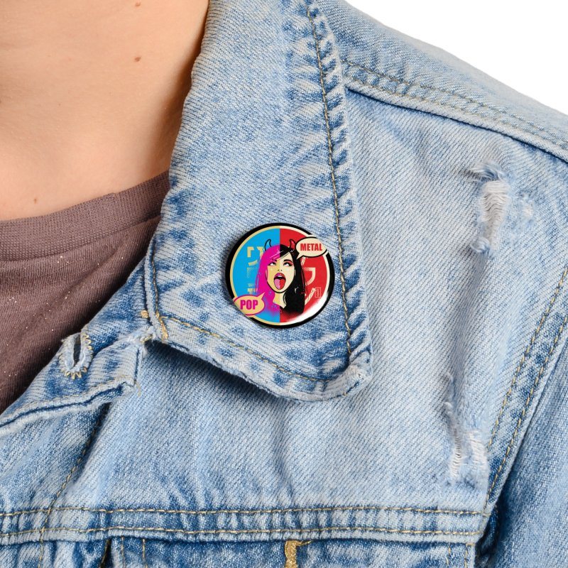 Ahegao eGirl (Cross-Eyed Tongue Out) POP METAL version Accessories Button by Dead Pop Hell Shop