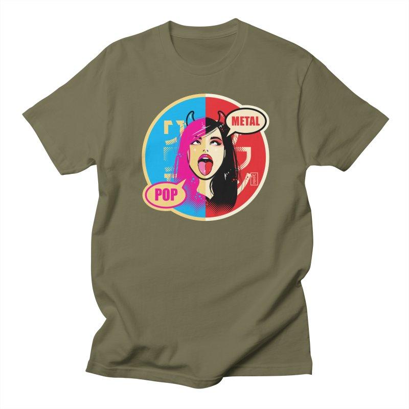 Ahegao eGirl (Cross-Eyed Tongue Out) POP METAL version Men's T-Shirt by Dead Pop Hell Shop