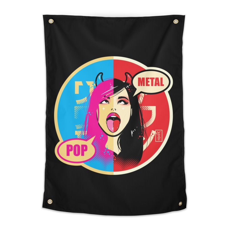 Ahegao eGirl (Cross-Eyed Tongue Out) POP METAL version Home Tapestry by Dead Pop Hell Shop