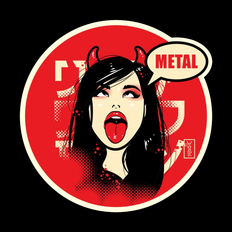 Ahegao eGirl (Cross-Eyed Tongue Out) METAL version Home Tapestry by Dead Pop Hell Shop