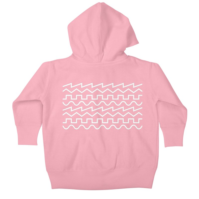 Synth Waves (White) Kids Baby Zip-Up Hoody by DROP
