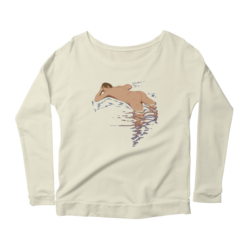 Man on water Women's Longsleeve Scoopneck  by Dror Miler's Artist Shop