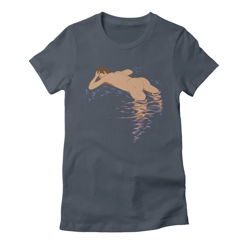 Man on water Women's Fitted T-Shirt by Dror Miler's Artist Shop