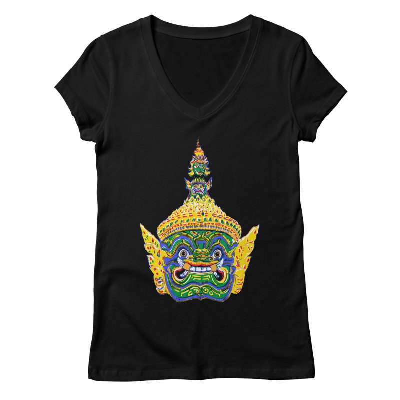Ravana Women's Regular V-Neck by Dror Miler's Artist Shop