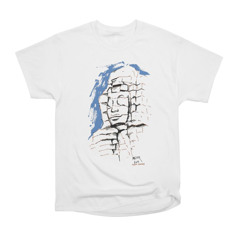 Ta Som Temple stone face (Angkor) Sketch Women's T-Shirt by Dror Miler's Artist Shop