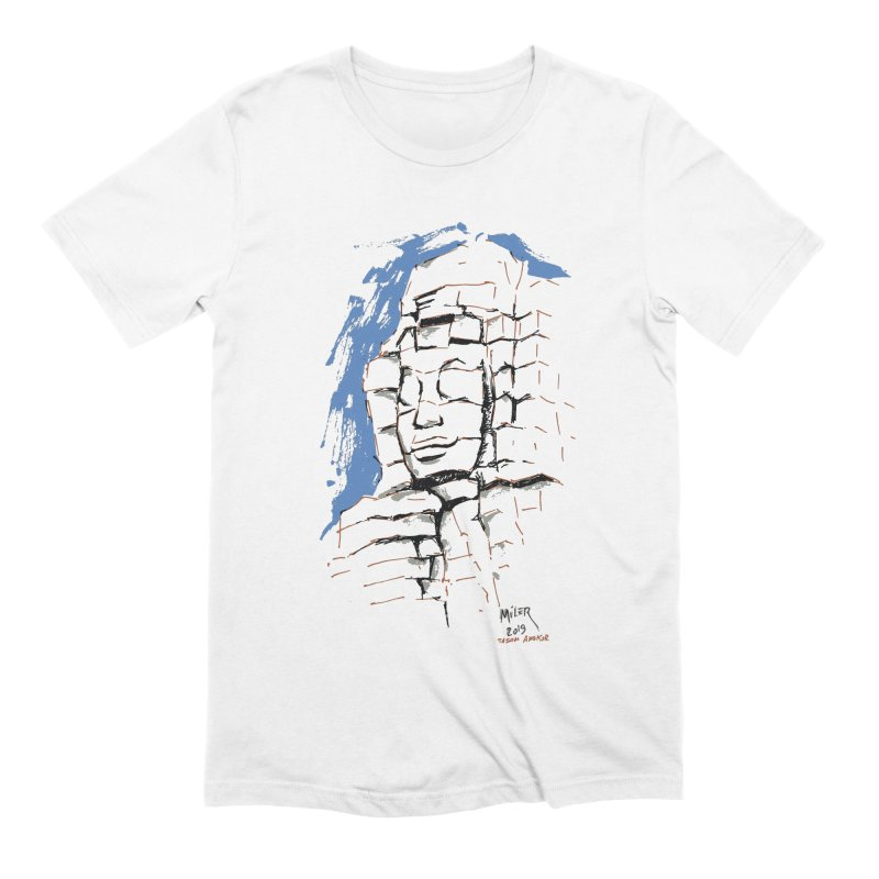 Ta Som Temple stone face (Angkor) Sketch Men's Extra Soft T-Shirt by Dror Miler's Artist Shop