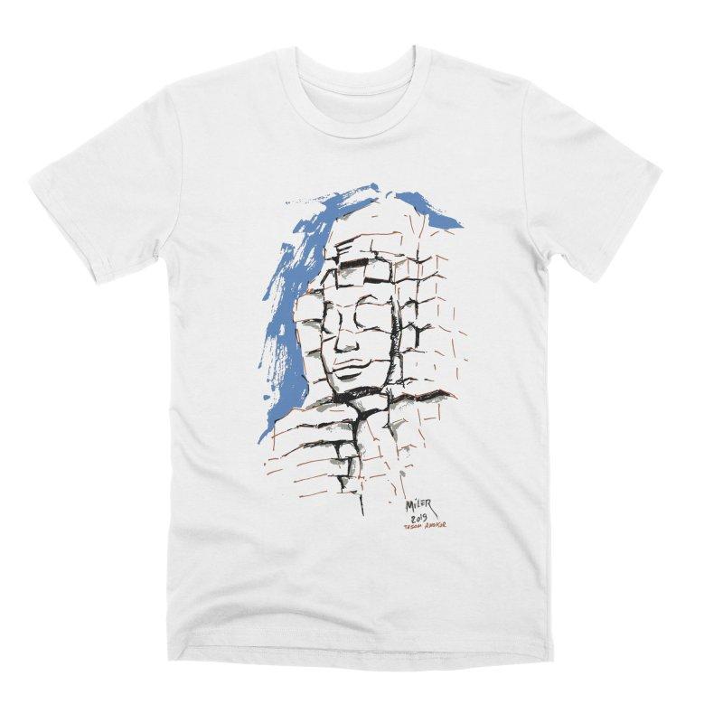 Ta Som Temple stone face (Angkor) Sketch Men's Premium T-Shirt by Dror Miler's Artist Shop