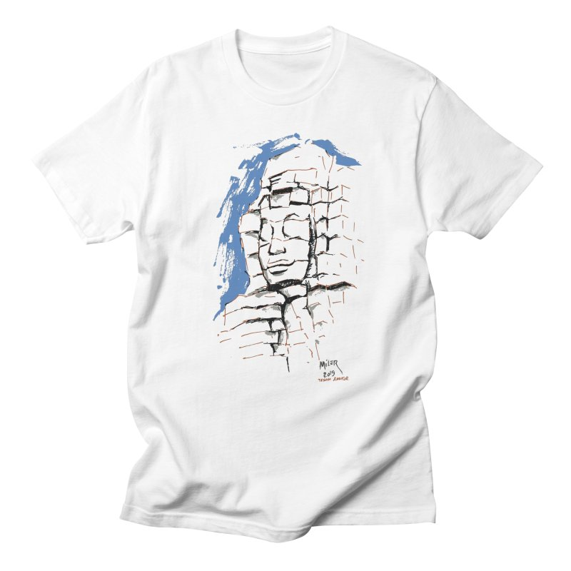 Ta Som Temple stone face (Angkor) Sketch Men's T-Shirt by Dror Miler's Artist Shop