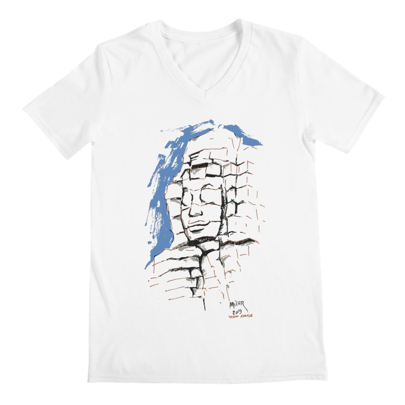 Ta Som Temple stone face (Angkor) Sketch Men's V-Neck by Dror Miler's Artist Shop