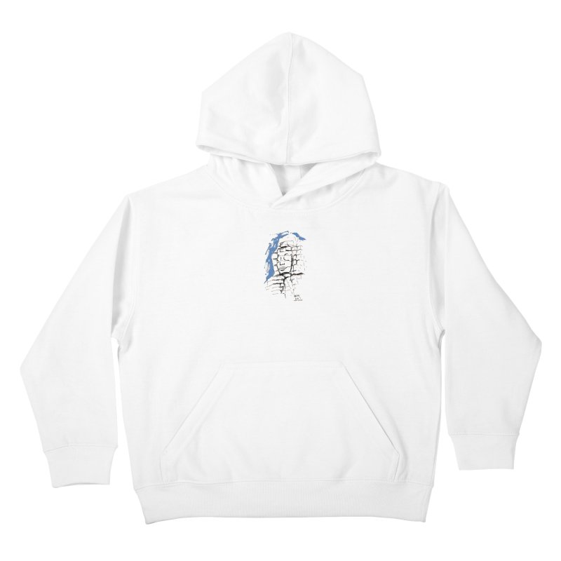 Ta Som Temple stone face (Angkor) Sketch Kids Pullover Hoody by Dror Miler's Artist Shop