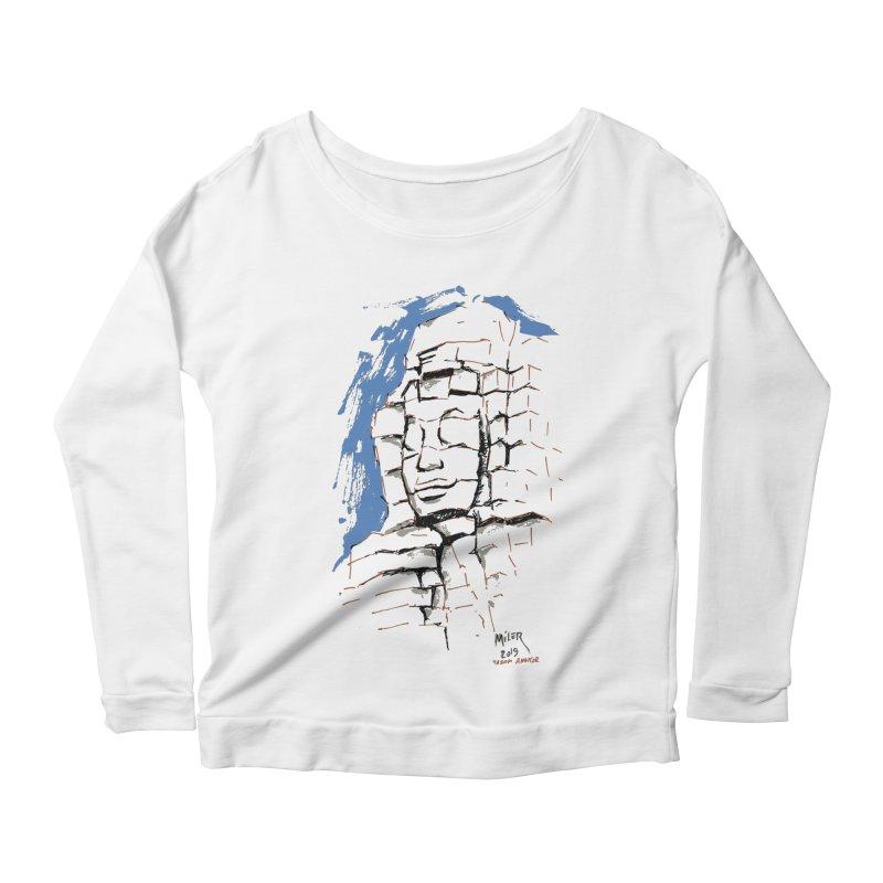 Ta Som Temple stone face (Angkor) Sketch Women's Longsleeve T-Shirt by Dror Miler's Artist Shop