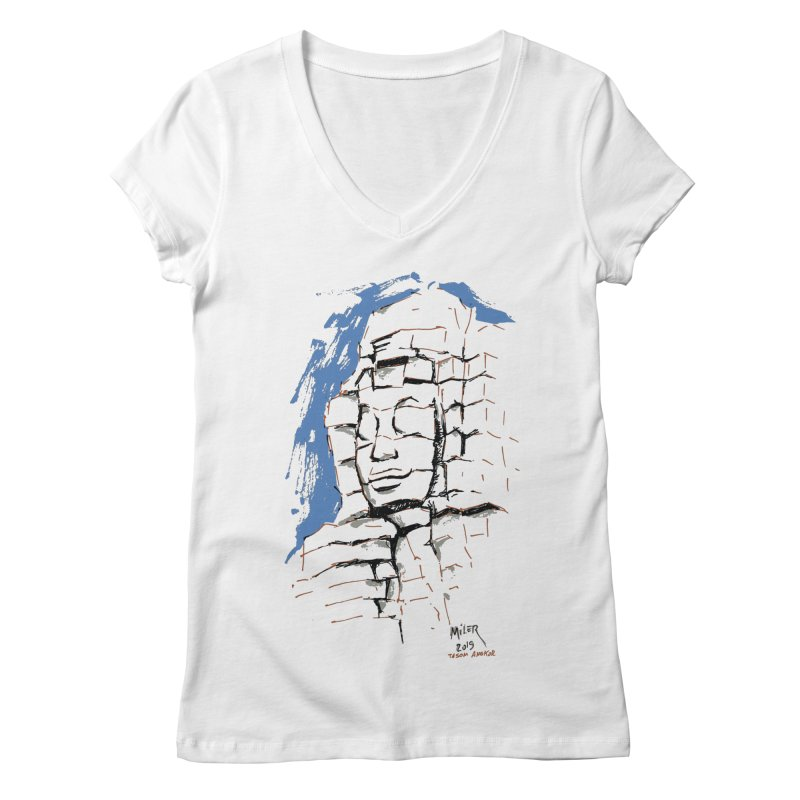 Ta Som Temple stone face (Angkor) Sketch Women's Regular V-Neck by Dror Miler's Artist Shop