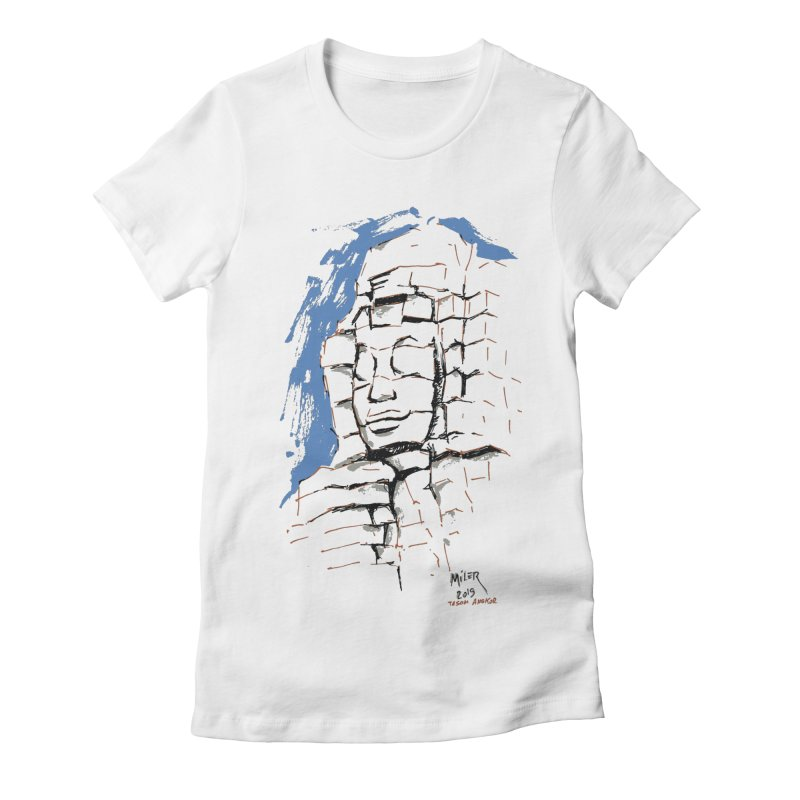 Ta Som Temple stone face (Angkor) Sketch Women's Fitted T-Shirt by Dror Miler's Artist Shop