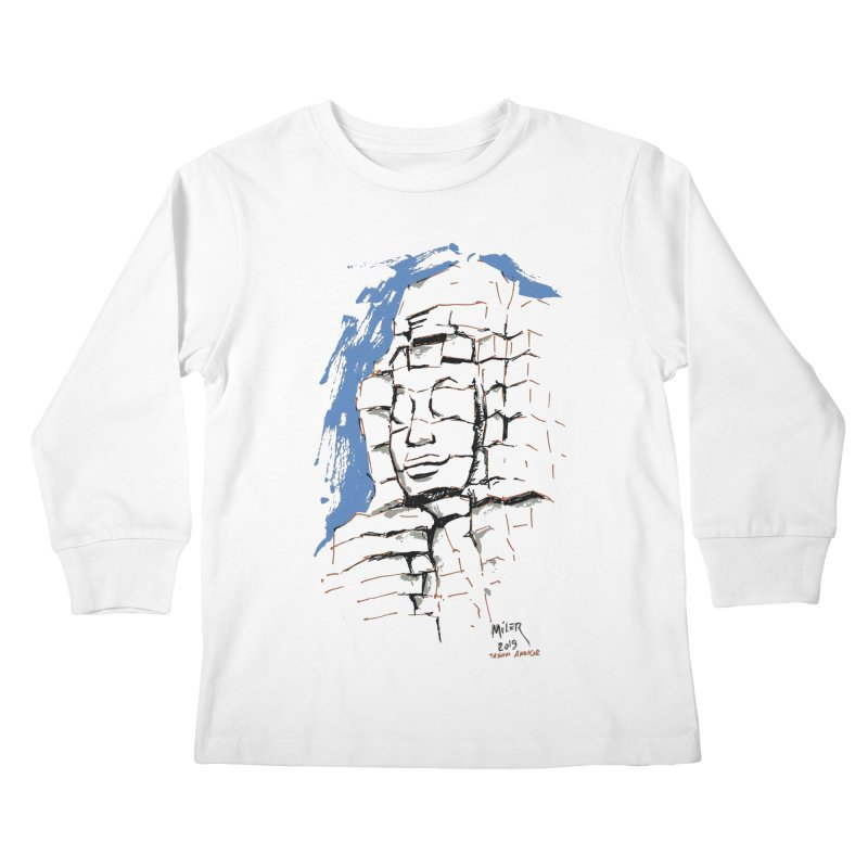 Ta Som Temple stone face (Angkor) Sketch Kids Longsleeve T-Shirt by Dror Miler's Artist Shop
