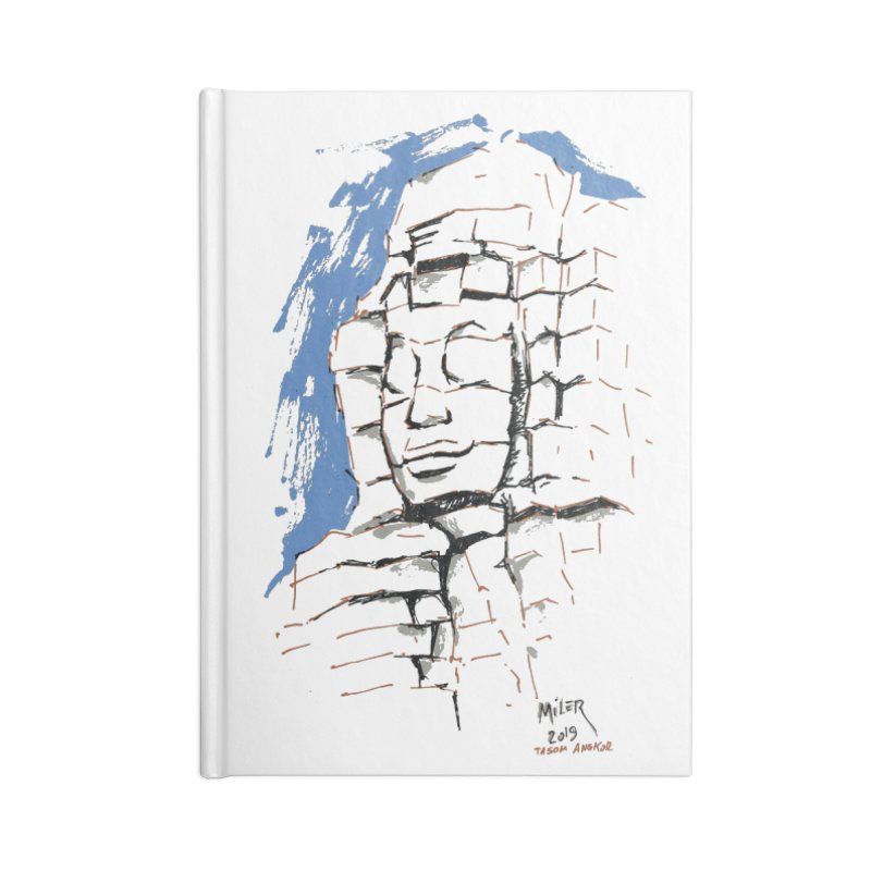 Ta Som Temple stone face (Angkor) Sketch Accessories Lined Journal Notebook by Dror Miler's Artist Shop