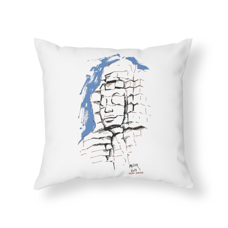 Ta Som Temple stone face (Angkor) Sketch Home Throw Pillow by Dror Miler's Artist Shop