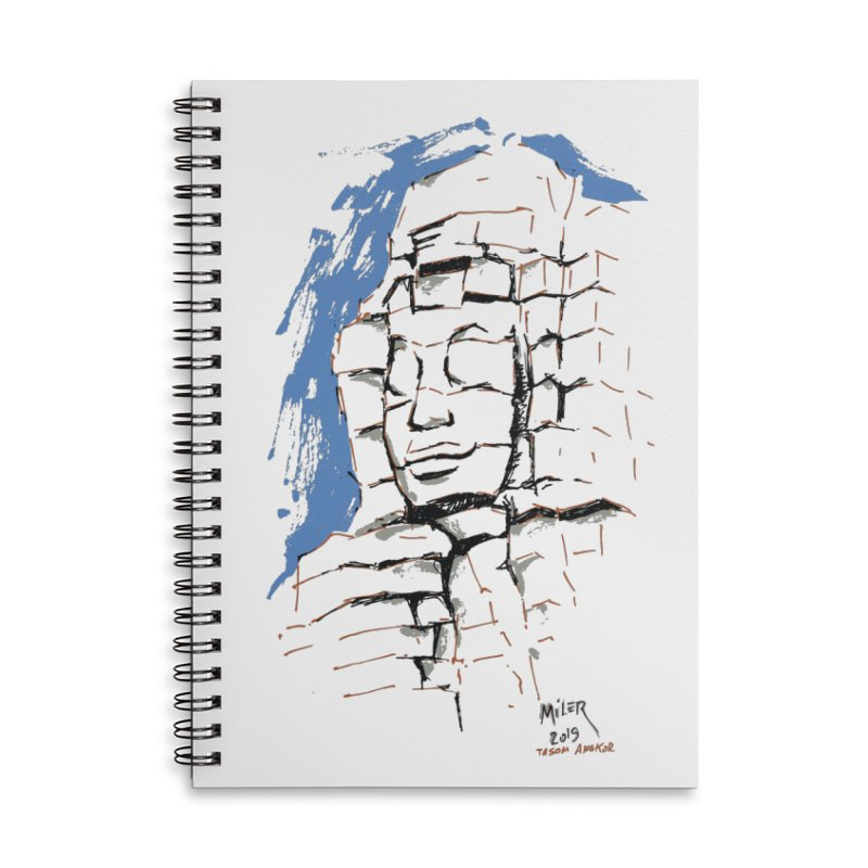 Ta Som Temple stone face (Angkor) Sketch Accessories Lined Spiral Notebook by Dror Miler's Artist Shop