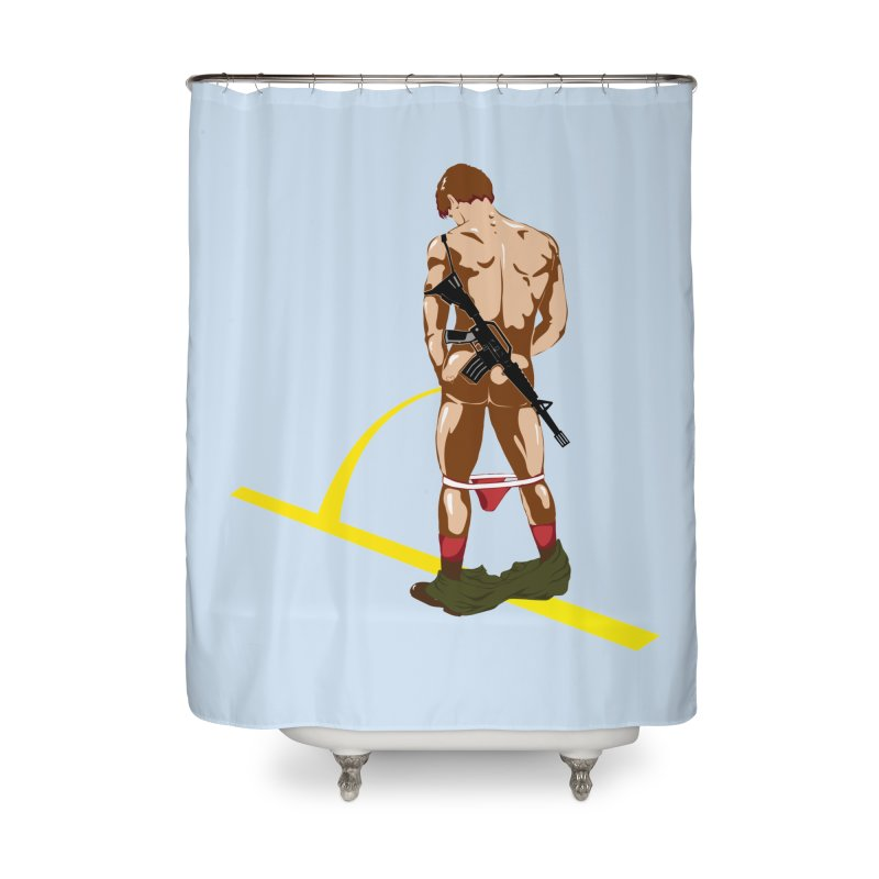 Pissing Soldier Home Shower Curtain by Dror Miler's Artist Shop