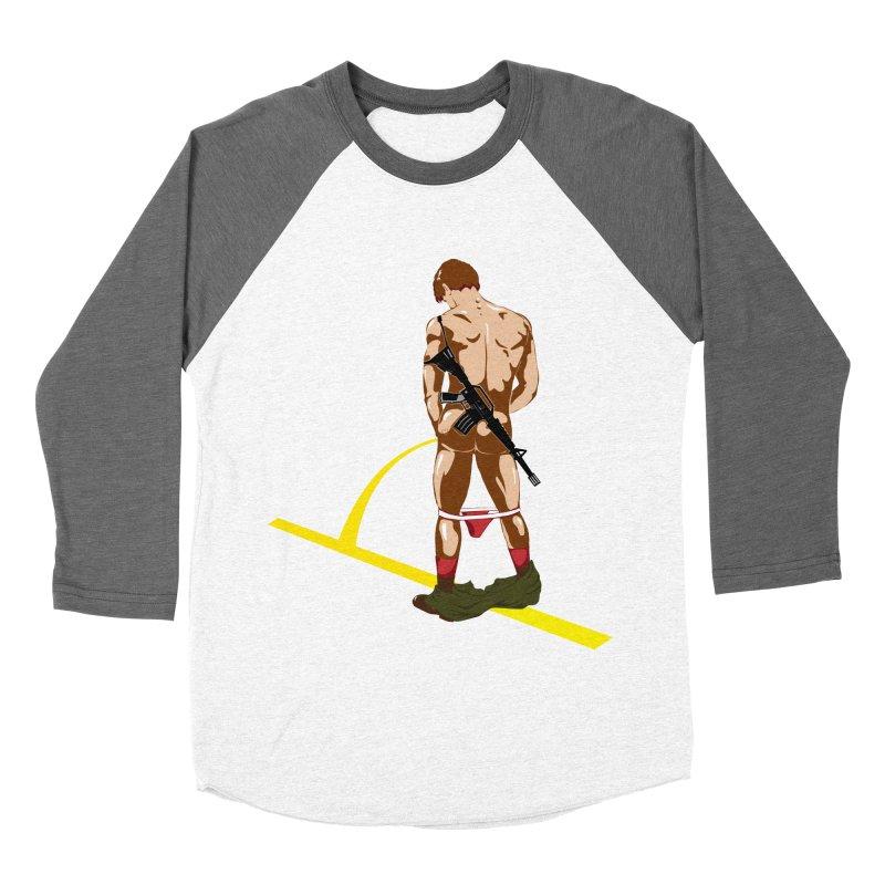 Pissing Soldier Men's Baseball Triblend T-Shirt by Dror Miler's Artist Shop