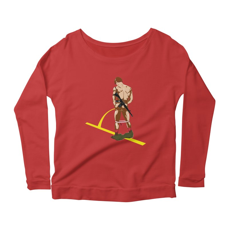 Pissing Soldier Women's Longsleeve Scoopneck  by Dror Miler's Artist Shop