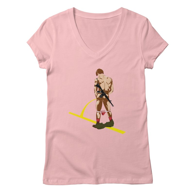 Pissing Soldier Women's V-Neck by Dror Miler's Artist Shop