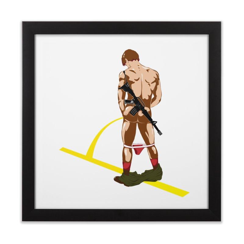 Pissing Soldier Home Framed Fine Art Print by Dror Miler's Artist Shop
