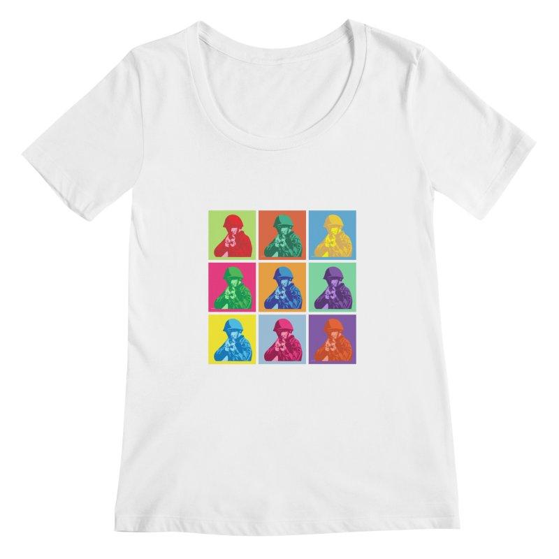 Nine Colored shoulder Targets Women's Scoopneck by Dror Miler's Artist Shop