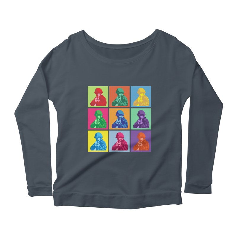 Nine Colored shoulder Targets Women's Longsleeve Scoopneck  by Dror Miler's Artist Shop